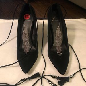 Brian Atwood Black Suede Lace-up Pumps 8.5 sz